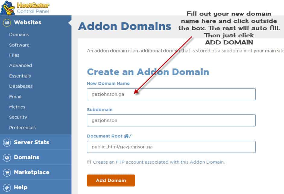 Add On Domain Set Up In Cpanel